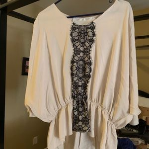 Tops - Tan and black lace blouse